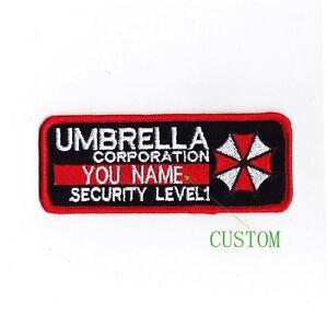 custom name tapes resident evil umbrella corporation badges velcro patch b1989. Black Bedroom Furniture Sets. Home Design Ideas