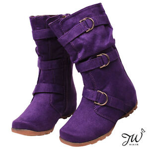 NEW-Girls-Kids-Faux-Suede-Mid-Calf-Boots-Low-Heel-W-Three-Buckle-Youth-Shoes