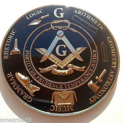 Freemason Masonic Love For Arts  Car Emblem Heavy Alloy Golden And Black Finish