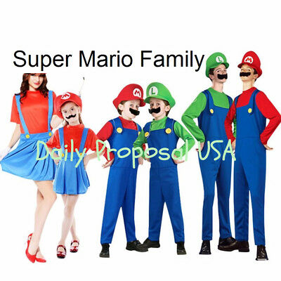 Adult & Kid Super Mario Brothers Jumpsuit Dress Unisex Halloween Costume S-XL US