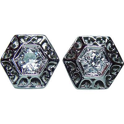 ART DECO Old European cut Diamond Solitaire Stud Filigree Earrings Platinum