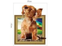 Dog Breakthrough 3D Frame Wall Sticker Kids Room Decor Vinyl Removable Art Mural