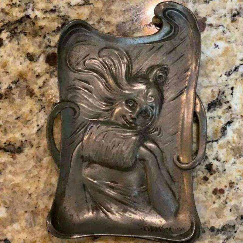 Rare 1910 French Art Nouveau Pewter Card Tray - Gorgeous