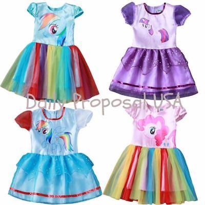 Little Pony Tutu Layered Dress Kid Girl Halloween Cosplay Daisy Belt 2T-8 USA](Girls Halloween Tutu)