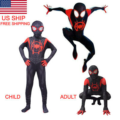 2019 Into the Spider-Verse New Design Miles Morales Spiderman Costume Tights](Black Suit Spiderman Costume)