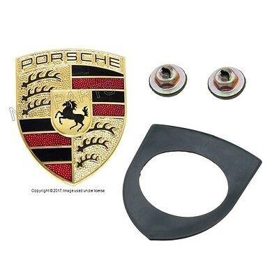 Front Emblem Gasket+2 Emblem Reatiners For Porsche 911 944 968 Cayman Boxter
