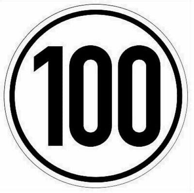 100 kmh Sticker Digitaldruck Aufkleber, 20cm Durchmesser