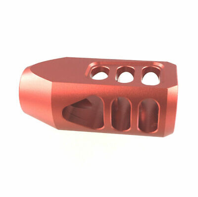 Red Anodized 6082 T6 Low Concussion Tanker Muzzle Brake 1/2x28 TPI For 223 556