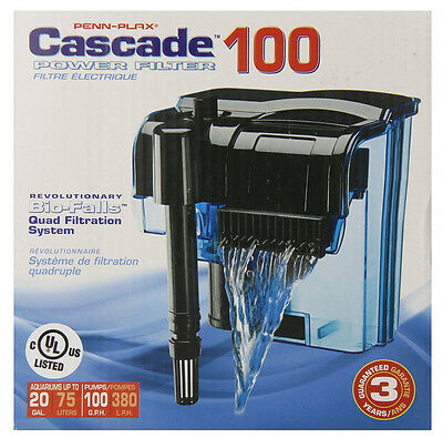 CASCADE 100 AQUARIUM POWER FILTER. UP TO 20 GALLON FISH TANKS.
