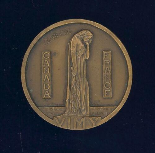 Vimy Ridge Pilgrimage 1936. Official Issue, Paris Mint, 50 mm (2 inches) bronze