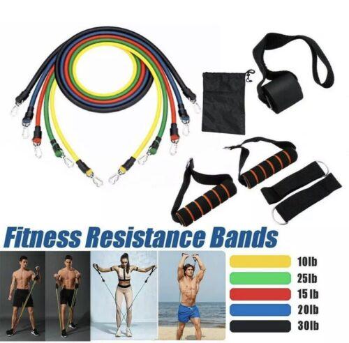 11PCS Yoga Pilates Resistance Band Set Abs Exercise Fitness Tube Workout Bands