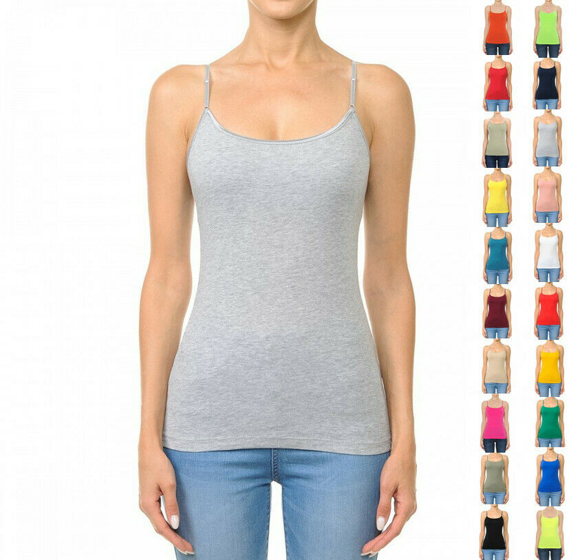 Women's Classic Bra Strap Cami Tank Top with Built in Bra Clothing, Shoes & Accessories