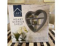 Heart Shaped Wall Mounted Mirror Shelf | Grey | Vanity Mirror & Storage Unit