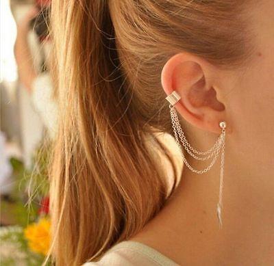 Women Fashion Punk Rock Leaf Chain Tassel Dangle Ear Cuff Wrap Earrings Ear Clip ()