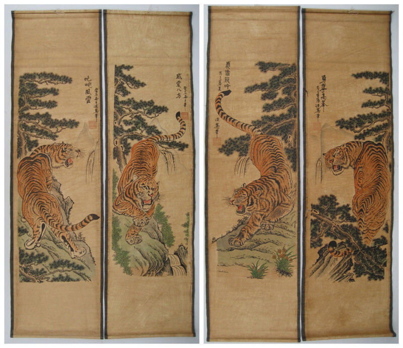 """Antique ANCIENT HANGING PAINTING SCROLL"""" Tiger """" NICE SCREEN OF 4PCS"""