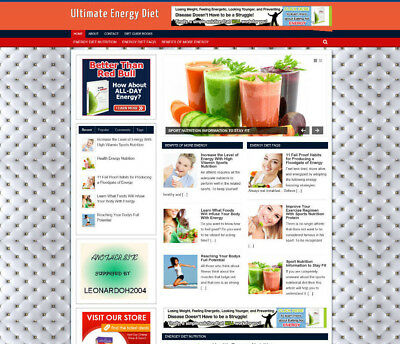 Ultimate Energy Diet Tips Store Website With Affiliates - Video Pages - Domain
