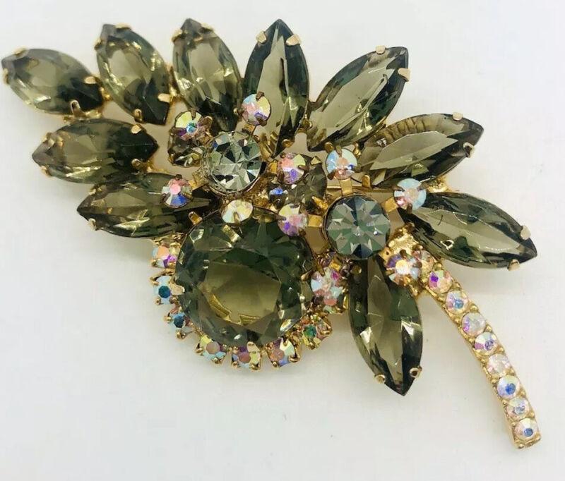 JULIANA Delizza & Elster Smokey Topaz & AB Rhinestone Brooch Vintage Jewelry