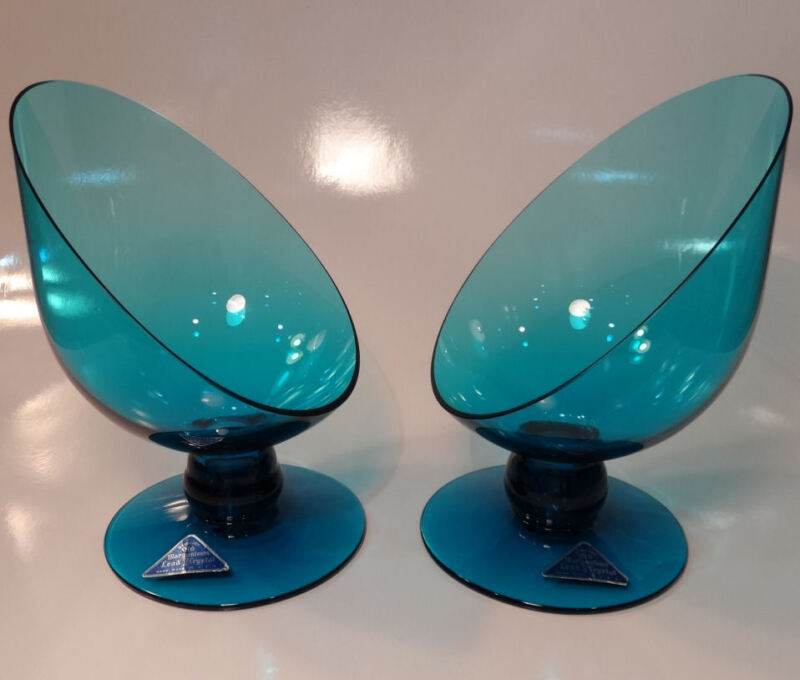Morgantown Lead Crystal Glass Easter Blue Mid Century MoDeRn Candlesticks -USA!