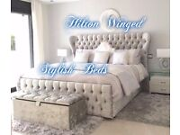 NEW-HILTON HANDMADE WING BED***£299 + FREE DELIVERY****