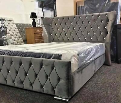 Oxford Kendal Wingback Chesterfield Bed Crush Velvet Upholstered Bed Frames
