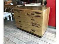 Painted Gold Chest With Five Drawers
