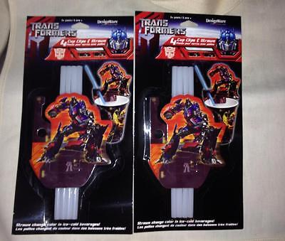 Transformers  2- 4 (8) Cup Clips and Color Changing Straws Kids Party Supplies (Plastic Color Changing Cups)