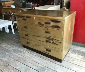 Painted Gold Five Drawer Chest