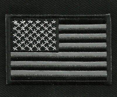 REFLECTIVE USA AMERICAN FLAG BLACK MOTORCYCLE BIKER JACKET VEST MILITARY PATCH