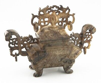 Antico Cinese Giada Fenice Urna Bruciatore Incenso Cina (Han Dynasty Stile ) con