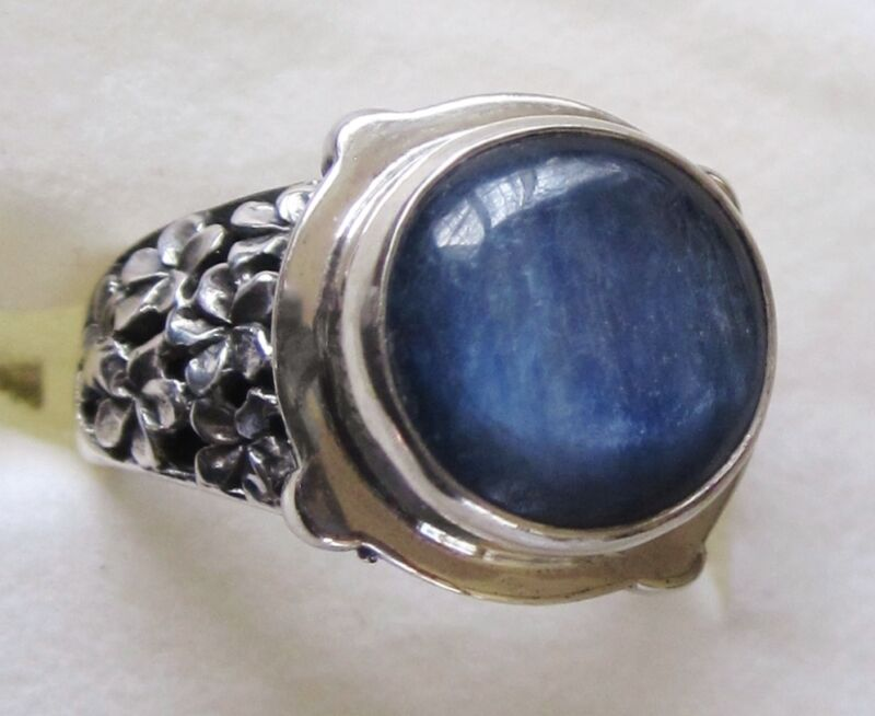 Himalayan Kyanite & Sterling Silver Flower Ring, 925 Sterling Silver, size 6.75