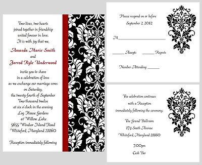 100 Personalized Custom Damask Wedding Invitations Set