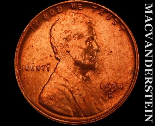1934-D Lincoln Wheat Cent-Choice Gem Brilliant Uncirculated Luster V9370 - $18.00