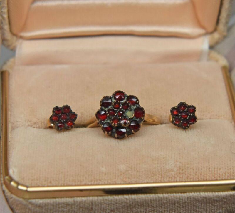Antique Bohemian Rose Cut Garnet 14k Gold Ring Earrings Scrap or as is 4.8 grams