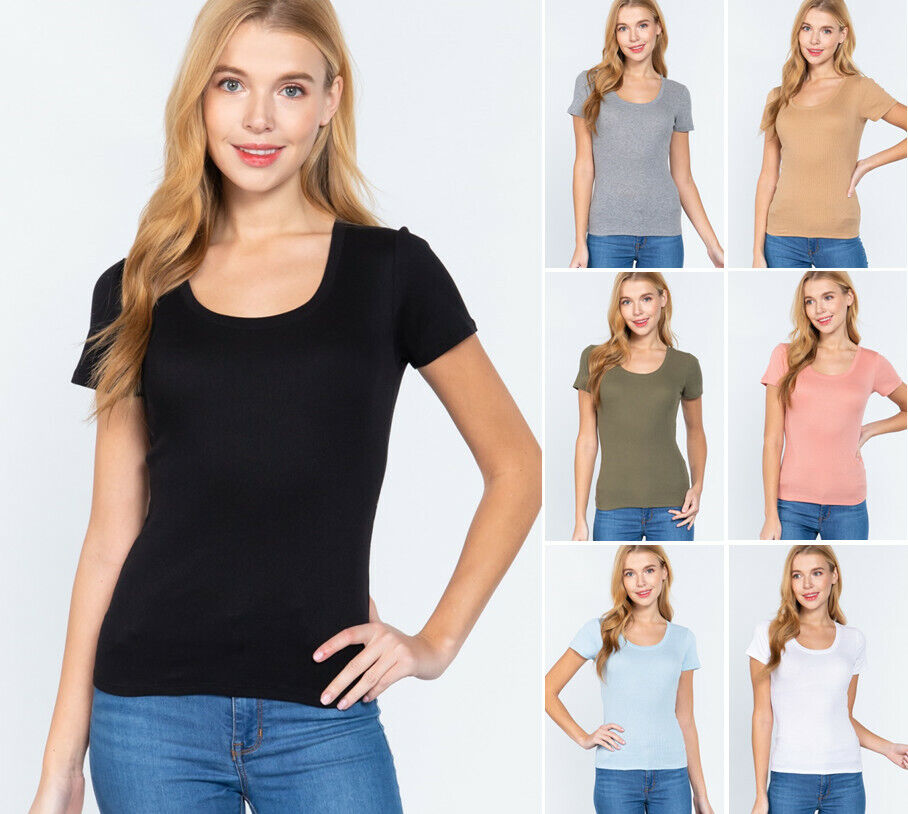 Women's Short Sleeve Stretch T Shirt Scoop Neck Rib Top (S-2XL) Clothing, Shoes & Accessories