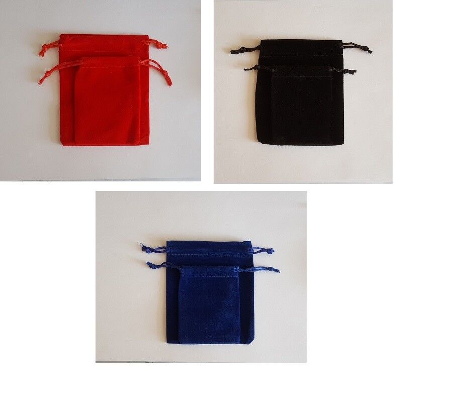Jewellery - 10 Velvet Pouches Jewellery Drawstring Wedding Gift Bag Pouch 2 Sizes 3 Colours