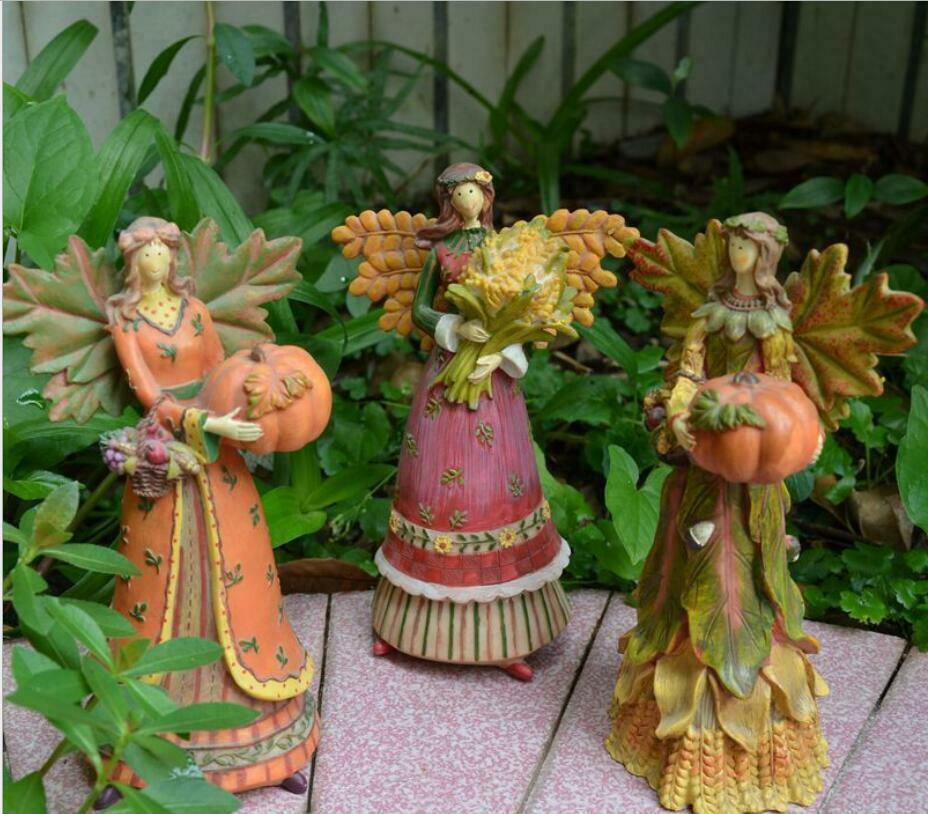"Statue Figures Patio Lawn 7.5"" Harvest Festival Angel Flower"