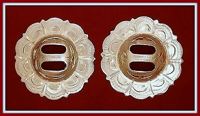 """2 - 1 3/4"""" Silver Hand Engraved Western Slotted Pico Conchos"""
