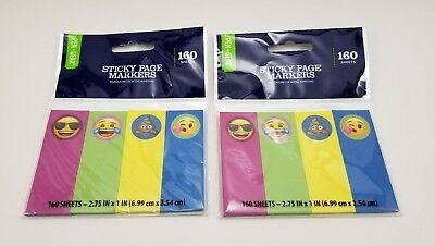 Lot Of 2 Emoji Sticky Page Markers. 160 Sheets 4 Colors. 2.75 X 1 Faces