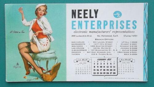 PIN-UP GIRL Fixing Short Skirt Hem + AD Neely Enterprises - FEB 1959 INK BLOTTER