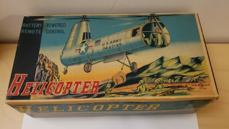 Trade Mark Us Army Helicopter Tin Toy Battery Operated Japan rare