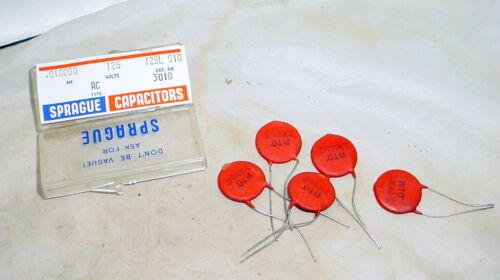 5x Sprague .01 uF 125 VAC Ceramic Disc Capacitor Safety AC Line Voltage