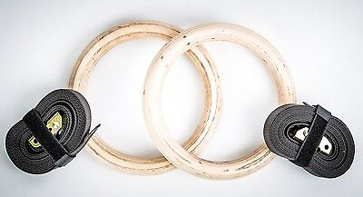Fitness Solutions Wood Gymnastic Ring Olympic Strength Training Gym Rings Wooden