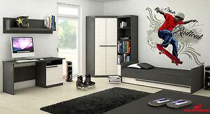 Jugendzimmer Kinderzimmer Set komplett 5tlg grafit grau / andersen kiefer Neu