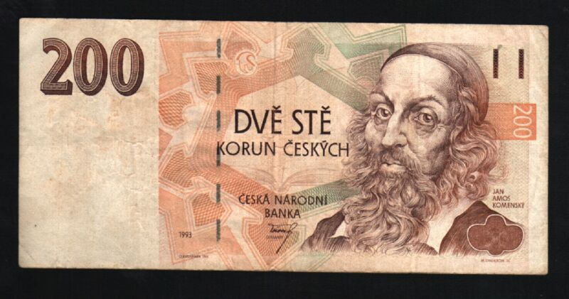 CZECH REPUBLIC 200 KORUN P6 A 1993 EURO BOOK HAND MONEY BILL EUROPEAN BANK NOTE