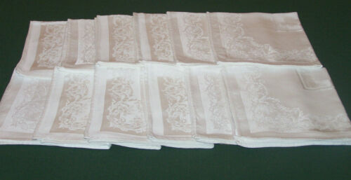 """12 VINTAGE DOUBLE DAMASK NAPKINS, 18"""", WINTER WHITE, CLASSIC SCROLLING DESIGN"""