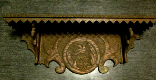 Antique Pensylvannia Dutch Tramp Folk Art Carved Wood Dove Rosette Wall Shelf!