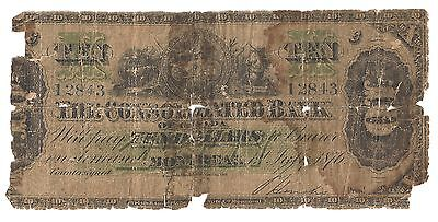 Consolidated Bank Of Canada  Montreal   10 Ten Dollars 1876
