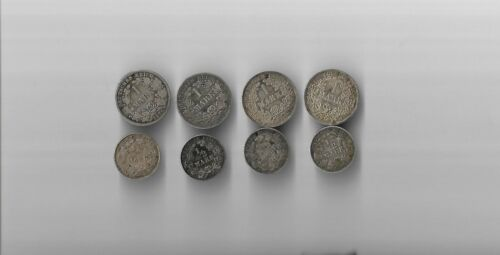 Lot of 8 Vintage Germany 1 and 1/2 Mark Silver Coins form late 1800