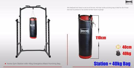 HOME GYM SQUAT / POWER BENCH PRESS RACK WITH 40KG BOXING BAG