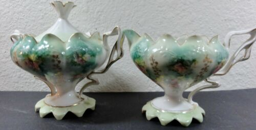 UNMARKED DECORATIVE PORCELAIN SUGAR WITH LID AND CREAMER